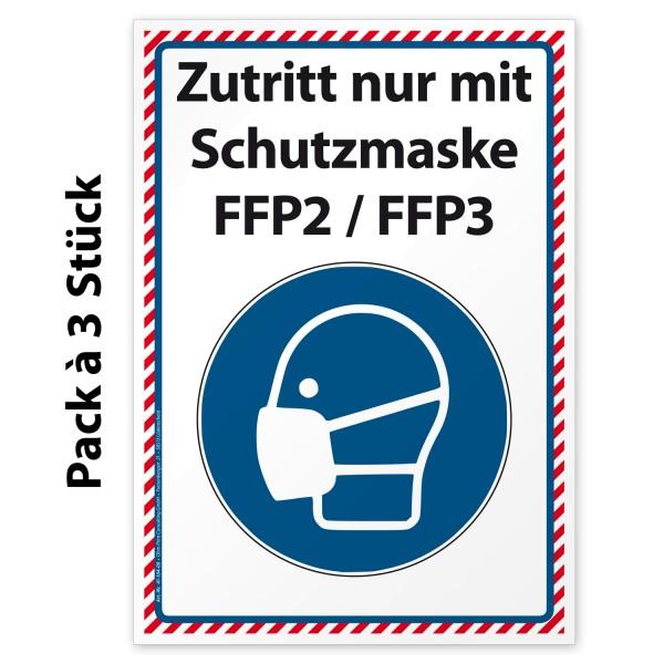"""Corona-Gebotsaufkleber """"Zutritt nur mit Schutzmaske FFP2 / FFP3"""""""