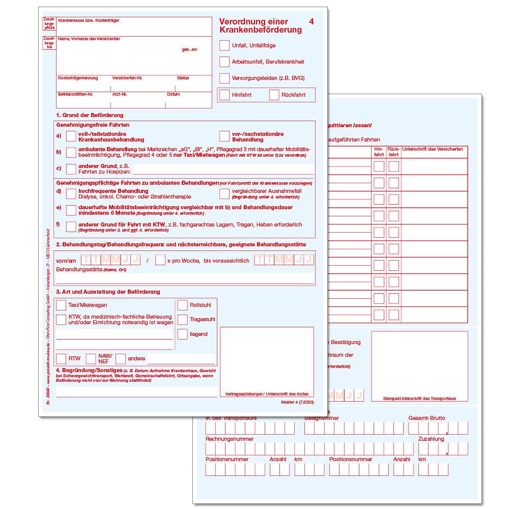 Verordnung Einer Krankenbeforderung Muster 4 Gultig Ab 01 07 2020