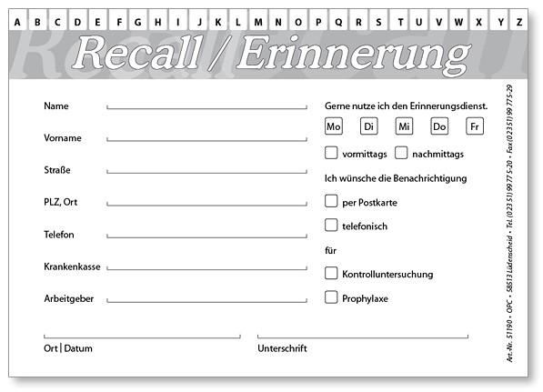 Recall-Karteikarte