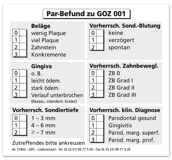 Par-Befundaufkleber zu GOZ 001