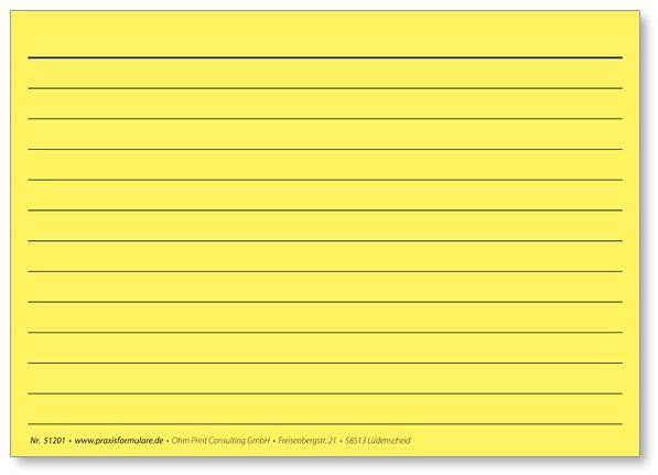 Karteikarte DIN A6 gelb, liniert