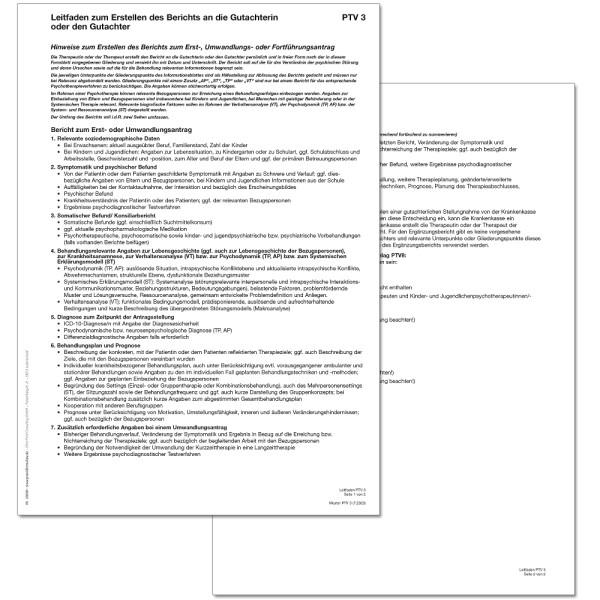 Muster Ptv3 Leitfaden Zum Erstellen Des Berichts An Die Gutachterin Oder Den Gutachter