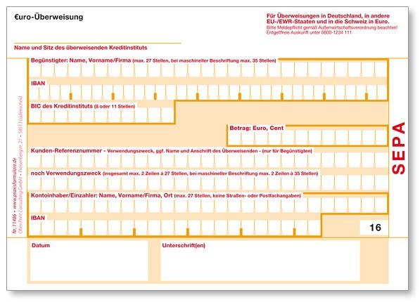 SEPA-Überweisungsvordrucke DIN A6