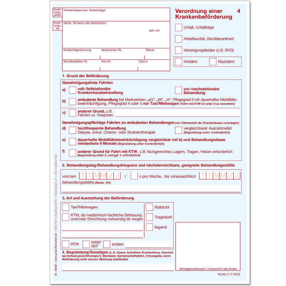 Krankenbeforderung Neues Verordnungsmuster Ab 1 7 20 Azh